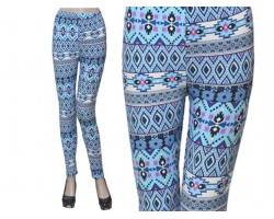 Aquamarine Blue White Aztec Leggings