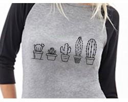 Cactus Pots Raglan 3/4 Shirt