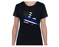 Blue Line American Flag State Map Short Sleeve Shirt