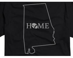 Black Silver Home Alabama State Map T Shirt