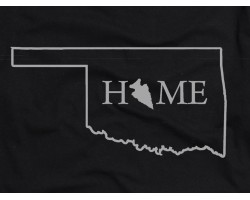 Black Silver Home Oklahoma State Map T Shirt