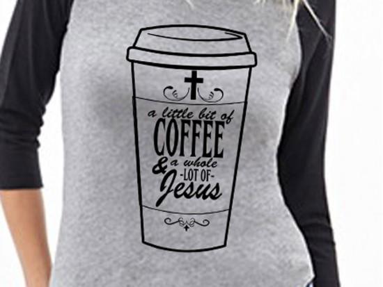 Coffee Jesus Raglan 3/4 Sleeve Shirt