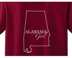 Red Crimson White Alabama Girl State Map T Shirt
