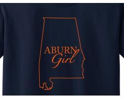 Navy Orange Auburn Girl State Map T Shirt