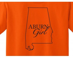 Orange Navy Auburn Girl State Map T Shirt