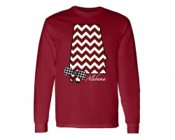 Red Crimson White Chevron Alabama State Map Bow Tie T Shirt