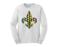 Mardi Gras Diamonf Fleur De Lis Long T Shirt