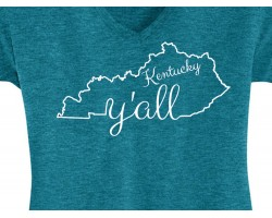 Teal Blue White Kentucky Y'all State Map Short Shirt