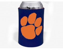 Navy Orange Paw Print Koozie