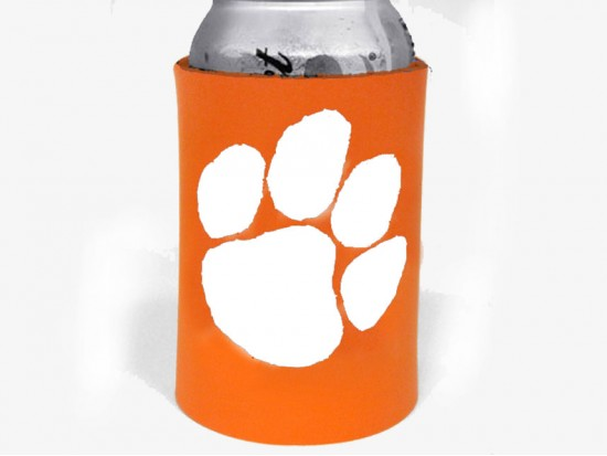 Orange White Paw Print Koozie