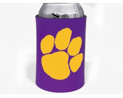 Purple Yellow Paw Print Koozie