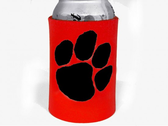 Red Black Paw Print Koozie