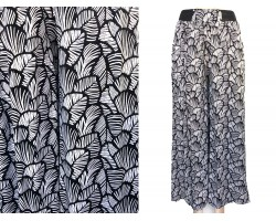 Black White Leaves Palazzo Pants