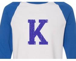Big Blue K 3/4 Raglan Shirt