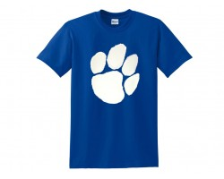 Blue White Paw Print Short Tee Shirt