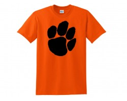 Orange Black Paw Print Short Tee Shirt