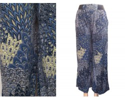 Multi Blue Peacock Feather Pattern Palazzo Pants