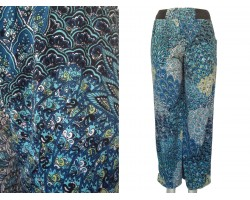 Multi Teal Peacock Feather Pattern Palazzo Pants