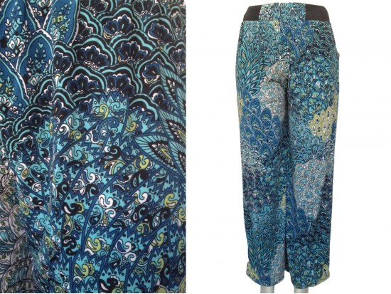 Multi Teal Peacock Feather Pattern Lounge Pants