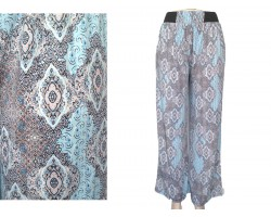 Light Blue Paisley Print Palazzo Pants