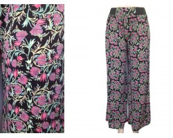 Red Flower Leaves Print Palazzo Pants