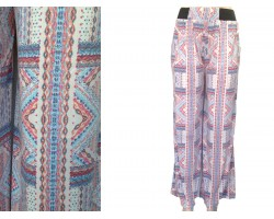 Light Multi Tribal Print Palazzo Pants