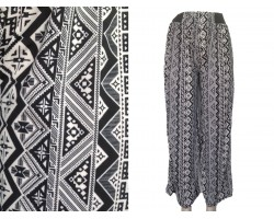 Black White Tribal Print Palazzo Pants
