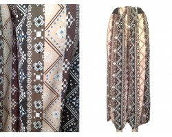 Brown Beige Tribal Print Palazzo Pants