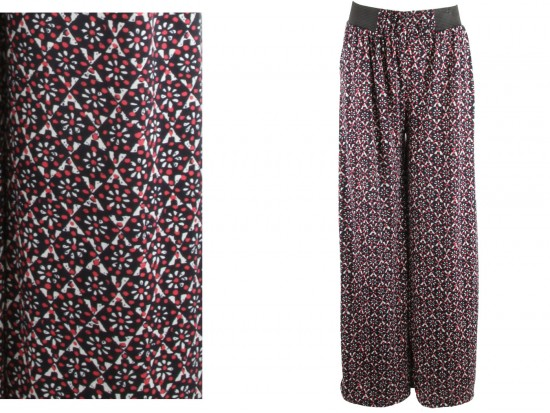 Red Black Diamond Floral Print Palazzo Pants