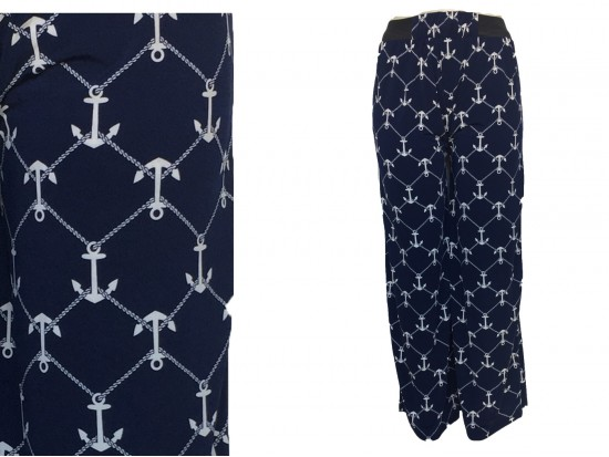 Navy Blue White Anchor Pattern Palazzo Pants