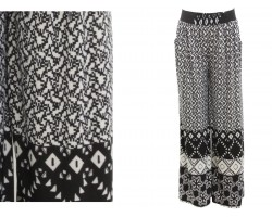 Black White Tribal Pattern Palazzo Pants