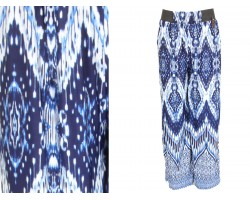Blue White Abstract Pattern Palazzo Pants