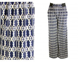 Navy Diamond Pattern Palazzo Pants