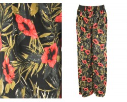 Red Flower Pattern Palazzo Pants