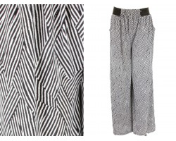 Black White Basket Weave Pattern Palazzo Pants