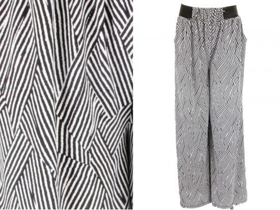 Black White Basket Weave Pattern Palazzo Pants