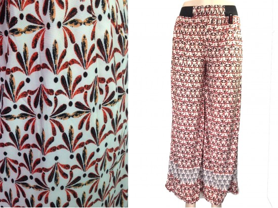Rust Red Floral Pattern Lounge Pants