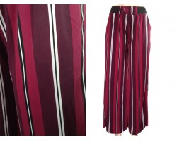 Black White Maroon Stripe Pattern Lounge Pants