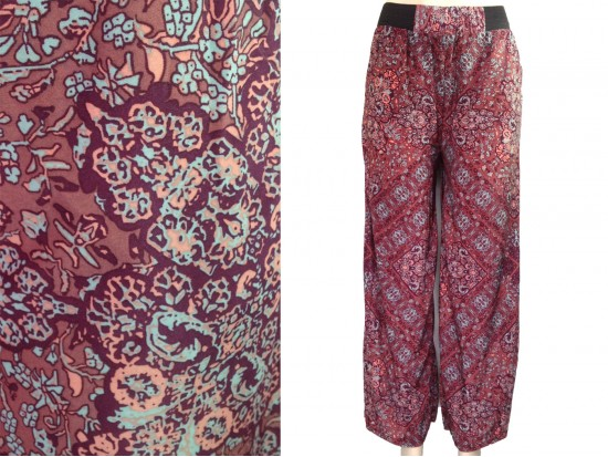 Red Black Floral Pattern Lounge Pants