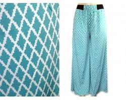 Turquoise Diamond Pattern Palazzo Pants