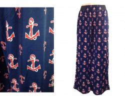 Navy Blue Red Anchor Pattern Lounge Pants