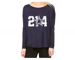 Navy 214 Star Flowy Long Sleeve Shirt