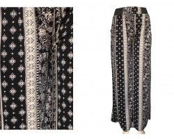 Black White Floral Pattern Lounge Pants