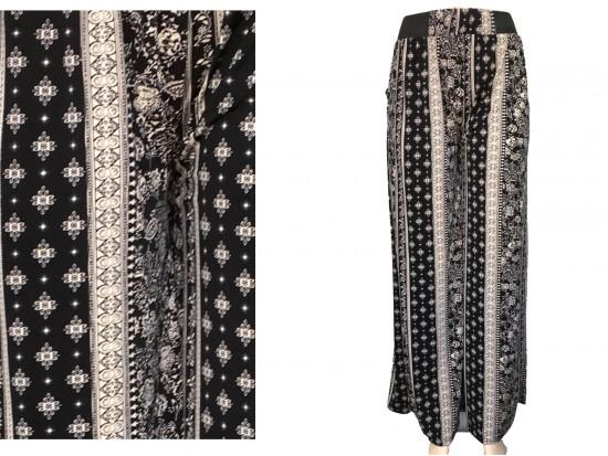 Black White Floral Pattern Lounge Pants