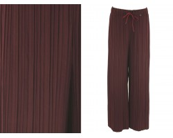 Burgundy Pleated Draw String Palazzo Pants