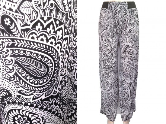 Black White Paisley Pattern Lounge Pants