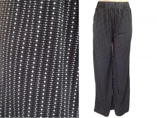 Black Gray Tiny Dot Line Pattern Lounge Pants