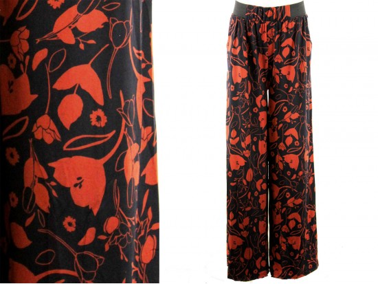 Red Black Floral Pattern Lounge Pants