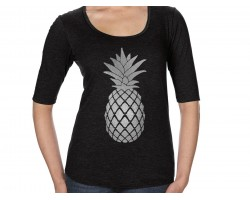 Silver Pineapple Tri-Blend 3/4 Sleeve Shirt