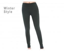 Green Solid Winter Leggings